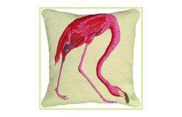 Pink Flamingo Needlepoint Pillow, Audubon