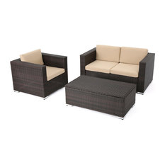 GDF Studio 3-Piece Fontana Outdoor icker Chat Set With Cushions, Brown/Tan