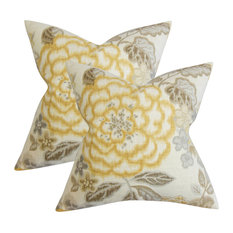 Unai Floral Throw Pillows, Yellow, Set of 2