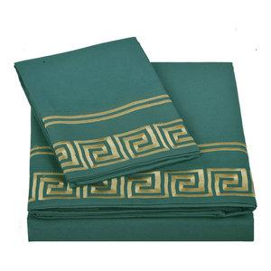 Serenta Greek Key Embroidered Microfiber 4 Piece Bed Sheet Set, Dark Teal, Full