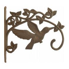 "Decorative Hummingbird Cast Iron Plant Hanger Hook, Large 11.25"" Deep"