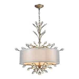 Elk Asbury 4 Light LED Chandelier, Aged Silver
