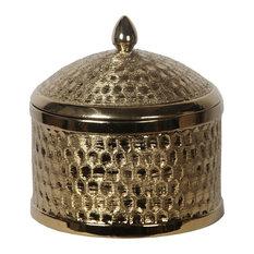 Privilege International Round Metallic Jar With Lid, Large
