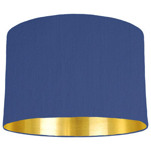 Royal Blue Lampshade With a Gold Mirrored Lining, 30x20 cm