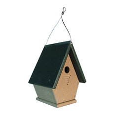 Wren, Chickadee and Warbler Chateau Bird House All Poly Light Brown/Green