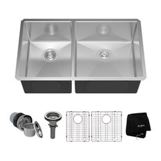 kraus undermount double bowl 16 gauge stainless steel kitchen sink 33. beautiful ideas. Home Design Ideas