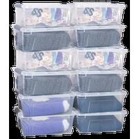 Costway 12 Pack 152Quart 144Liter Latch Stack Storage Box Bins Latches Handles