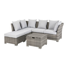 6 Piece Outdoor Patio All-Weather Wicker Sectional