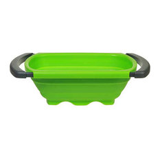 Progressive International Green Silicone Collapsible Over the Sink 6 qt Colander