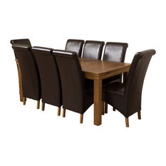 French Chateau Oak Dining Table With 8 Montana Chairs, Brown Leather