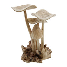Serene Spaces Living Carved Teak Mushroom