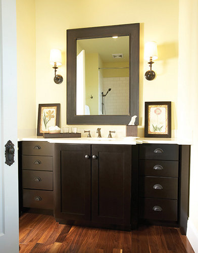 Genial Bathroom Cabinetry From Wellborn Hanover Maple Finished In Midnight   Bathroom  Vanities And Sink Consoles