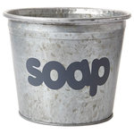 """A Southern Bucket - Soap Galvanized Storage Bucket - Organize your bathroom with this cute metal bucket, featuring hand painted typography """"soap"""" in gray. Each Soap galvanized bucket is 100% watertight and is a perfect home accent for modern farmhouse decor."""