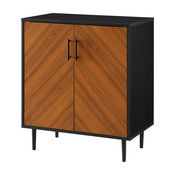 """28"""" Modern Bookmatch Accent Cabinet, Solid Black"""