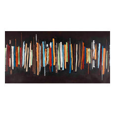 """Contemporary Hand Painted Canvas Art, Extra Large-Wide Open 2"""" , 55"""" X 28"""""""
