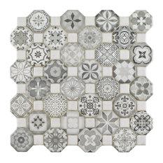"12.25""x12.25"" Tesseract Ceramic Floor/Wall Tiles, Set of 13, Gray"