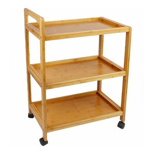 Contemporary Serving Trolley Cart, Bamboo Wood With 3-Shelf and 4-Wheel