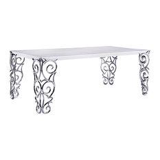 "Soho White Volakas Natural Marble Dining Table 86.6"""