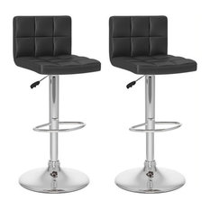 Pemberly Row Faux Leather Adjustable Bar Stool In Black (Set Of 2)