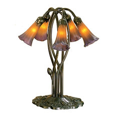 "Meyda 16.5"" Amber/Purple Pond Lily 5-Light Accent Lamp"