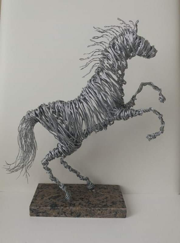 Horse on Granite Stand Wire Sculptures
