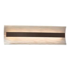"Justice Design Porcelina Contour 21"" LED Bath Bar, Dark Bronze, Waves"
