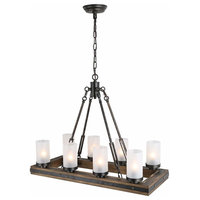 8-Lights Vineyard Pendant, Wood Chandelier With Frosted Glass Shade