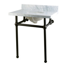Fauceture KVPB30MB5 Carrara Marble Bathroom Console Vanity with Brass Pedestal