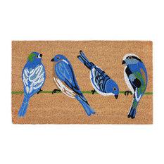 """Liora Manne Natura Blue Birds Outdoor Mat Natural 1'6""""x2'6"""""""