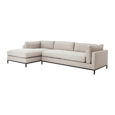 Contemporary 2-Piece Chaise Sectional, Left Chaise, Moon