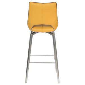 Aspen Faux Leather Swivel Bar Chair, Yellow