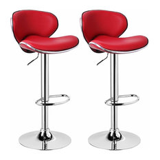Luxury 2-Bar Stool Set Upholstered, Faux Leather, Footrest and Gas Lift Dark Red