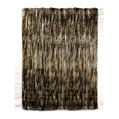 Wide Organic Print Furry Rug, Dark