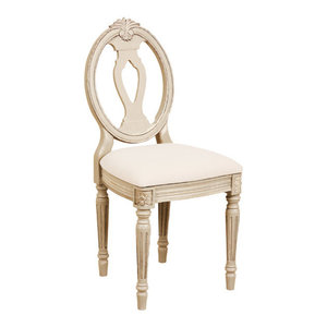 Gustavien Sophia Chair, Lacquered Antique White, Fabric Seat