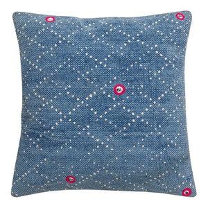 Indigo Batik Cushion, Lattice, Filled