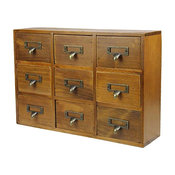 Lovely Elegant Natural Wood Storage Chests, Receive Container With 9-Drawer