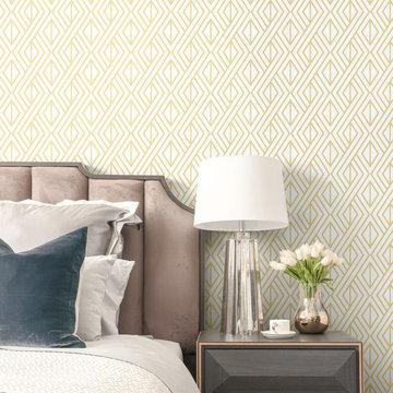 Transform Gold Diamond Geo Peel and Stick Wallpaper by Graham & Brown Bedroom