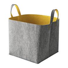 Calligaris USA Inc   Elliott Storage Basket, Gray And Mustard Yellow   Storage  Bins And