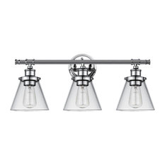 Parker 3-Light Chrome Vanity Light With Clear Glass Shades