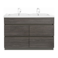 Karoo Ash 48'' Boardwalk Contemporary Vanity 4 Drawer With Double Bowl Top