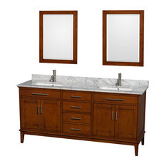 "72"" Double Bathroom Vanity in Light Chestnut, Countertop, 24"" Mirror, Sink"