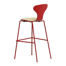 Hi Cream Upholstered Bar Stool, Red Frame