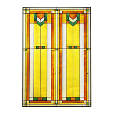 "Arts and Crafts Prairie 20""x30"" Window Art Glass Panel Green"