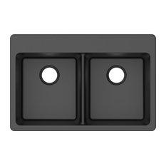 "Winpro Dual-Mount Kitchen Sink, Equal Double Bowl, Granite Quartz, Black, 33"""
