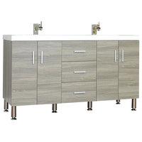 "Ripley Collection 56"" Double Modern Bathroom Vanity Set, Gray"