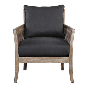 Rustic Exposed Wood Cane Side Arm Chair, Dark Gray Black Comfy