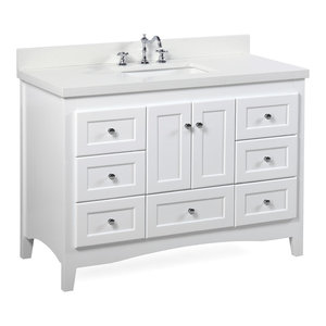 Abbey Bath Vanity, Top: Quartz, Base: White, 48""