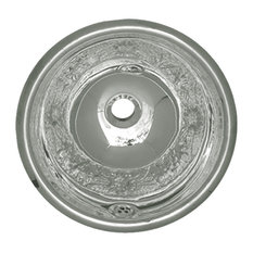 Round Floral Pattern Drop-In Basin With Overflow& 1 1, 4 Center Drain