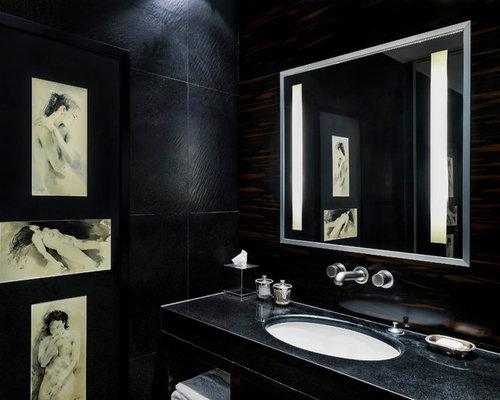 Photos et id es d co de wc et toilettes avec un mur noir - Toilette suspendu noir ...