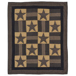 VHC Brands - Teton Star Quilted Throw - Great for accentuating any room or warming up by the fireplace with your favorite coffee, the Teton Star Quilted Throw brings a lively primitive look to your home or retreat. Showcasing traditional 8-point stars in navy blue and tan alternating with patchwork blocks and finished with triple borders. Reverses to solid navy blue.